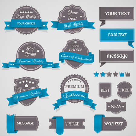 Set of vintage labels and ribbons Vector design elements Stock Vector - 13930484