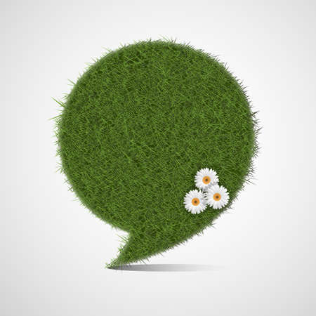 Bubble for speech made of stylized green grass  Vector