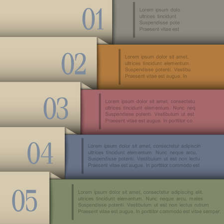 Design template in retro colors Vector paper numbered banners  Vector