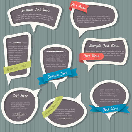 Speech bubbles in vintage style  Vector set  Vector