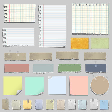 sticky notes: Vector set of various notes paper