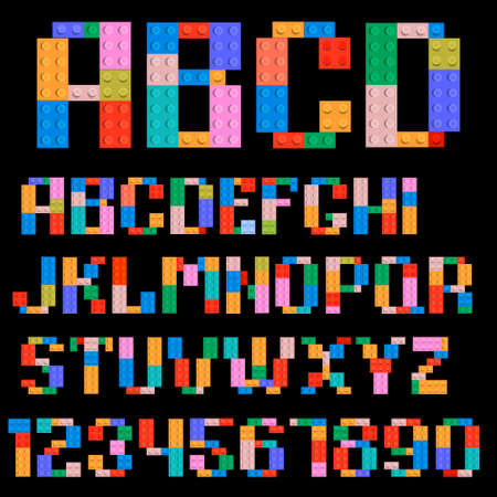 abc blocks: Alphabet and numbers made of plastic building blocks