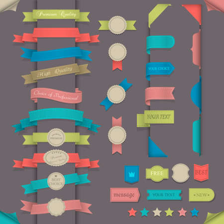 Big set design elements in retro style  Vector collection