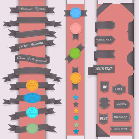 Vector set design elements in retro style Vector
