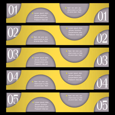 Retro Design template with circles  Vector paper numbered banners Vector