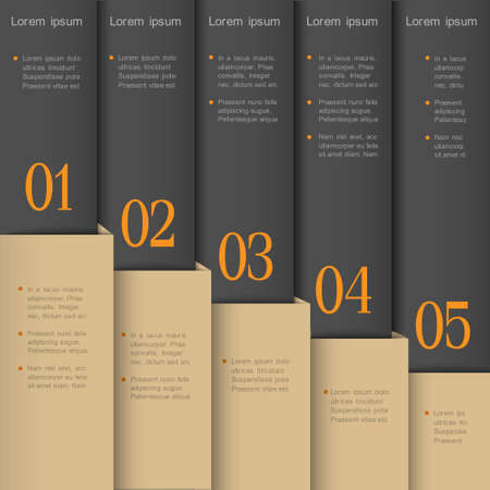 Vertical paper numbered banners  Vector design template