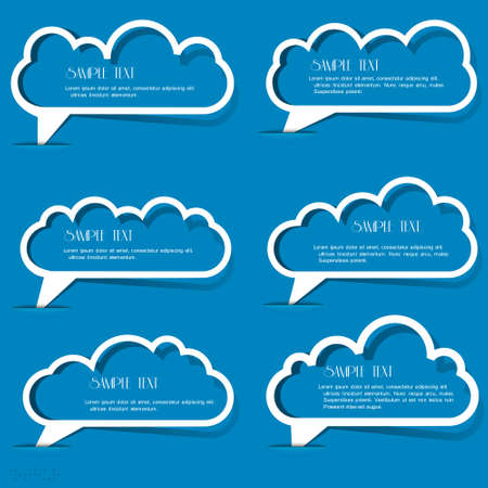 Clouds speech bubbles from paper outline set Vector