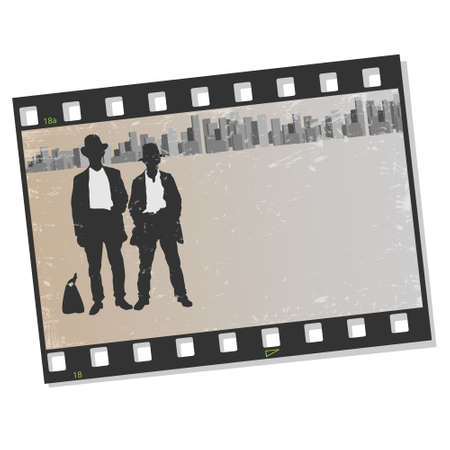 gangster background: Film frame with silhouettes gangsters illustration