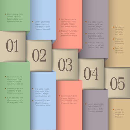 Paper numbered banners in pastel colors design template Vector