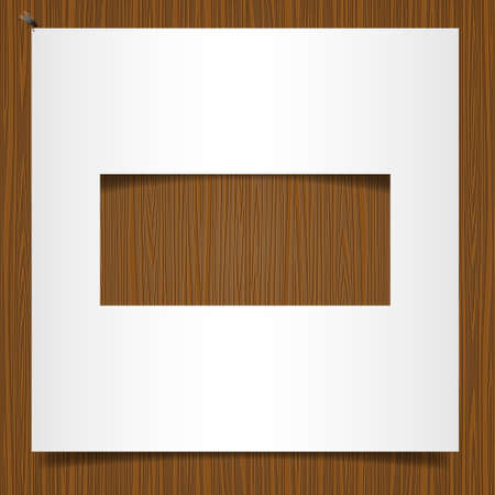Simple paper frame on wooden background Vector