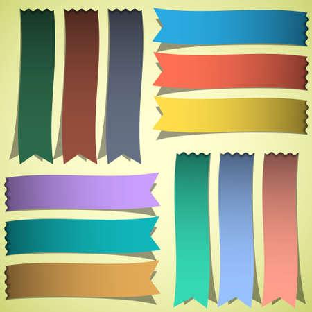 bookmark ribbon: set of bookmarks or ribbons