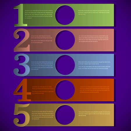 numbered: Di carta colorata numerati progettazione banner modello