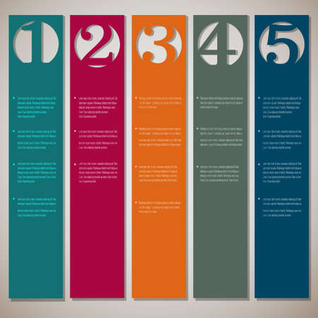 paper graphic: Vertical paper numbered banners  Vector design template