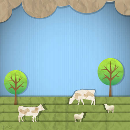Landscape with sheeps,cows paper art  Stock Vector - 13983328