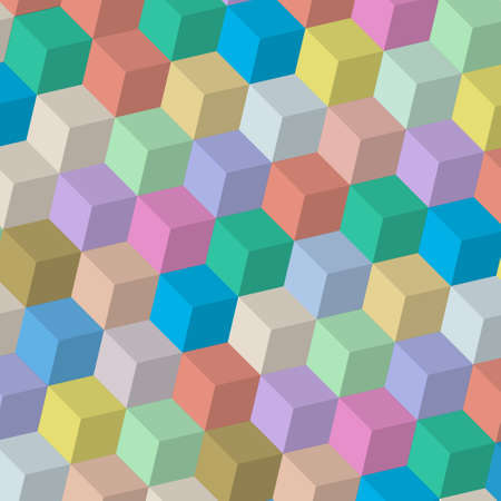 3d cubes in retro colors Vector