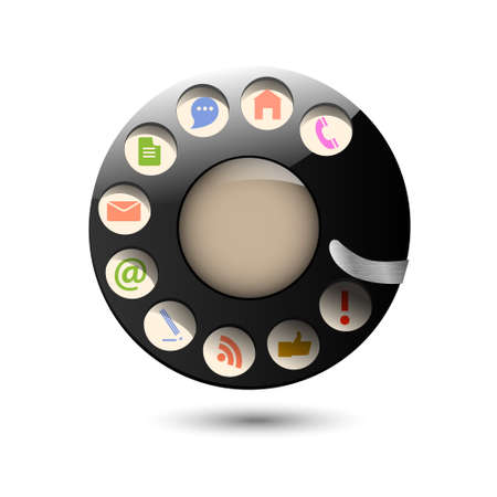 call history: Collection web icons in disc dials of old retro phone  Creative