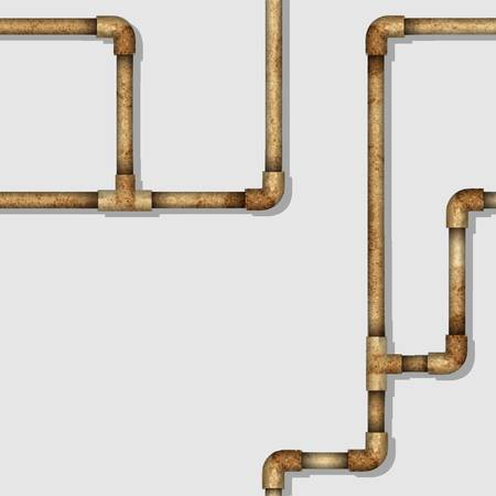 leaking: Industrial seamless pattern with rusty pipes