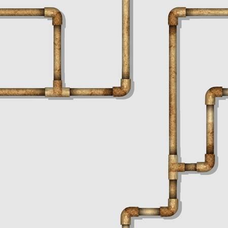 Industrielle nahtlose Muster mit rostigen Rohren