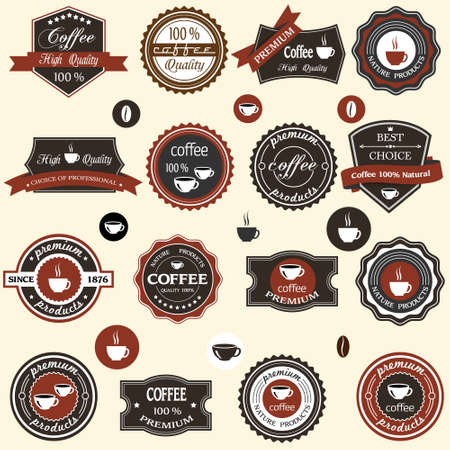 latte art: Coffee labels and elements in retro style set