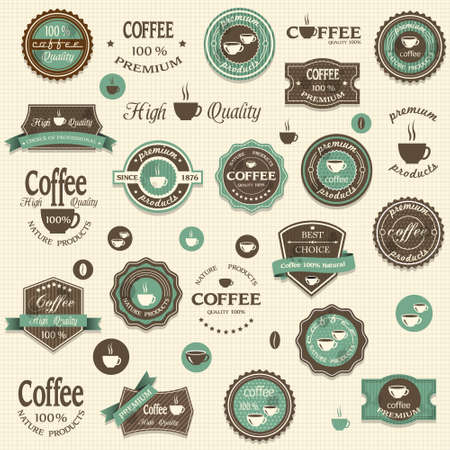 古美術品: コーヒーのラベルおよびデザイン ビンテージ スタイルの要素のコレクション  イラスト・ベクター素材