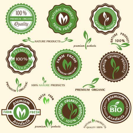 Collection d'étiquettes organiques et des icônes
