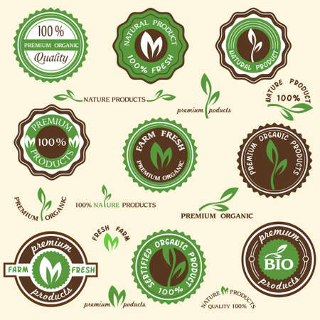 produce product: Collection of organic labels and icons