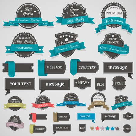 Collection of vintage labels and ribbons design elements  Illustration