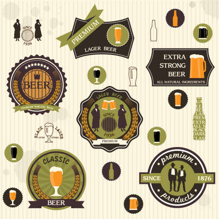 beer mugs:   Beer badges and labels in retro style design set Illustration