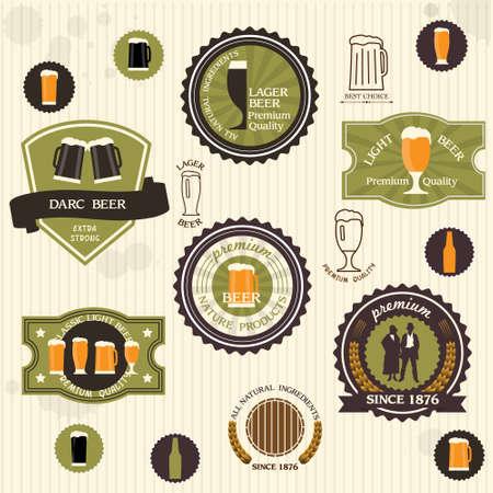 Beer badges and labels in vintage style set