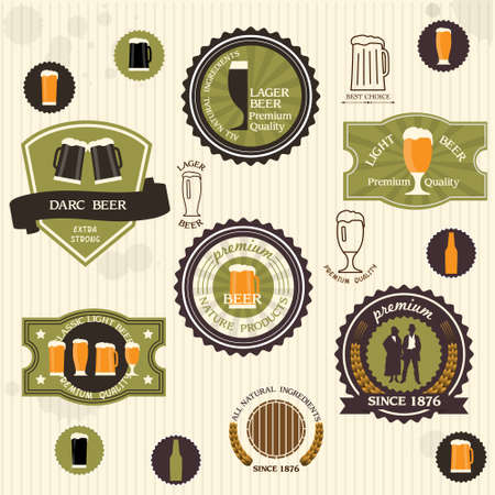 Beer badges and labels in vintage style set Vector