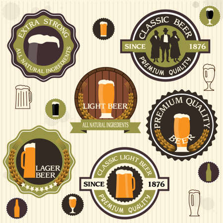 lager beer:    Collection of beer badges and labels in vintage style