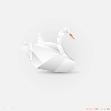 Origami swan paper-art Vector