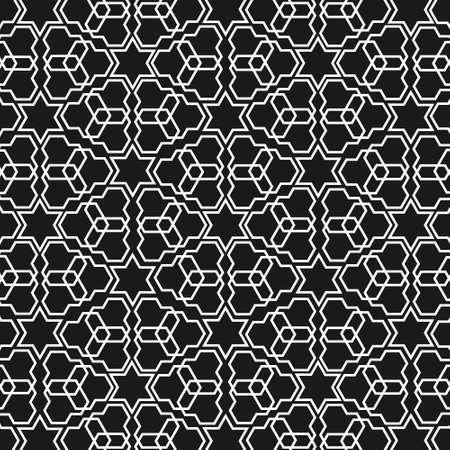 orientalische muster: Schwarz-Wei�-islamische Muster Illustration