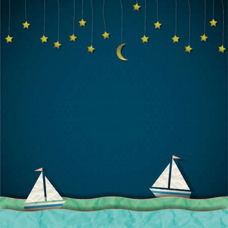 Sailboats at night Stock Vector - 14210022