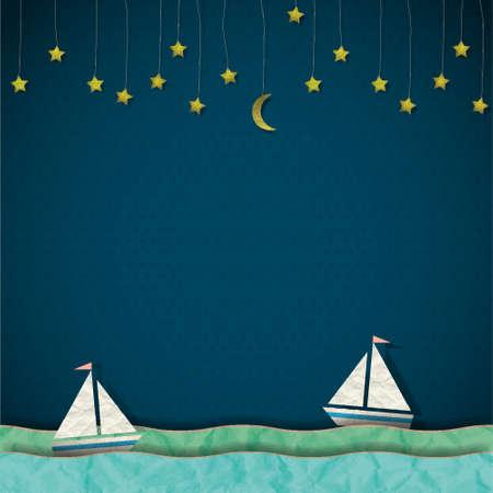 old boat: Sailboats at night Illustration