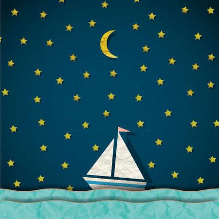 barco caricatura: Barco de vela en la noche Vectores