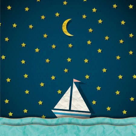 Sailing boat at night Vector