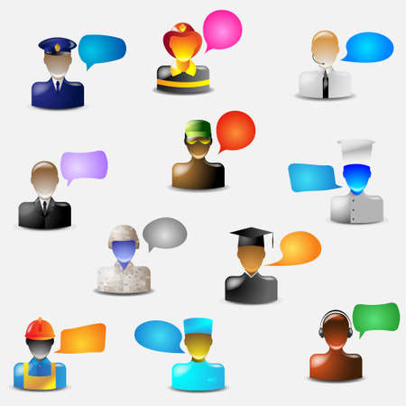 set of glass icons occupations with bubbles for speech Vector