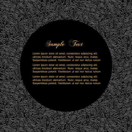 Textured black background with bordered circle for text Ilustracja