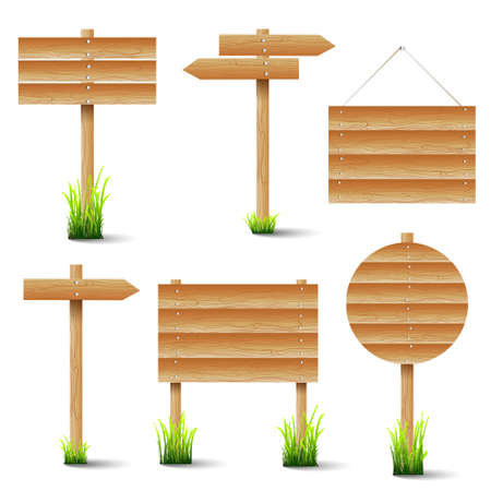 set of wooden signs Stock Vector - 14210133