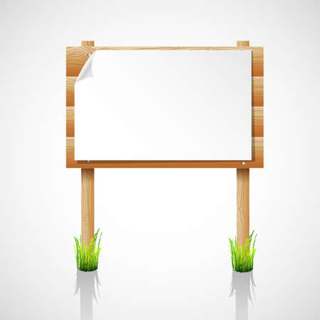 wooden notice board with grass Stock Vector - 14258308