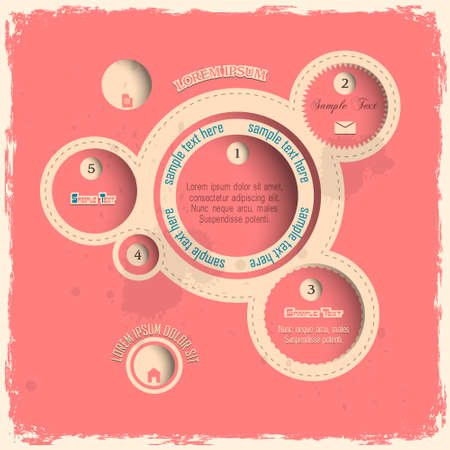 Pink web design bubbles in vintage style Stock Vector - 14370798