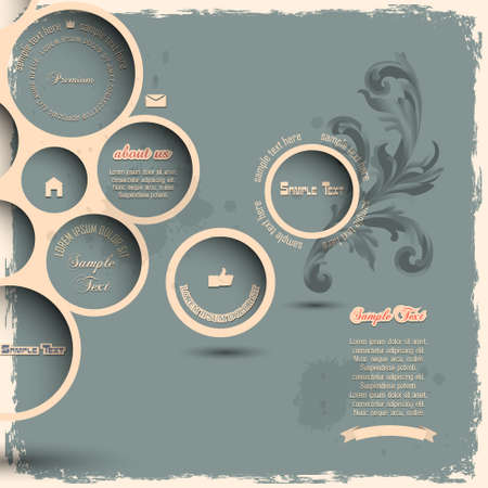 Retro design bubbles on grunge background  Vector