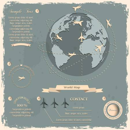 Retro style design with aircraft and Globe   Vector