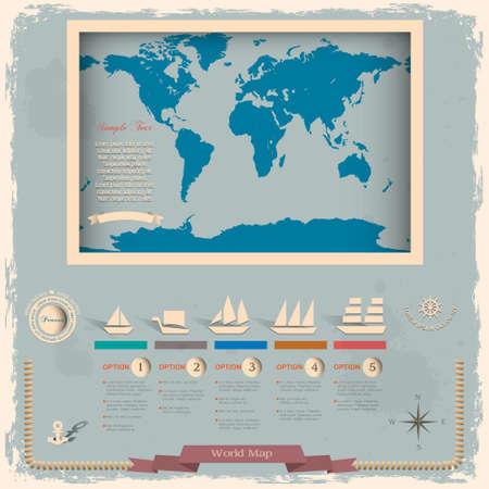 Retro stijl wereldkaart met nautische design elementen Vector Illustratie