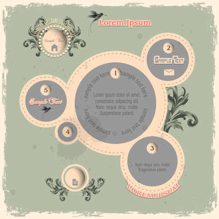 Web design bubbles in vintage style  Vector