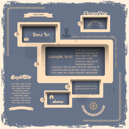 web page elements: Web design template in Retro style Illustration