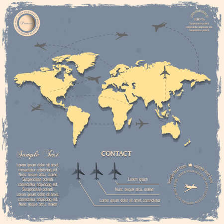 site map: World map with aircraft for design in vintage style