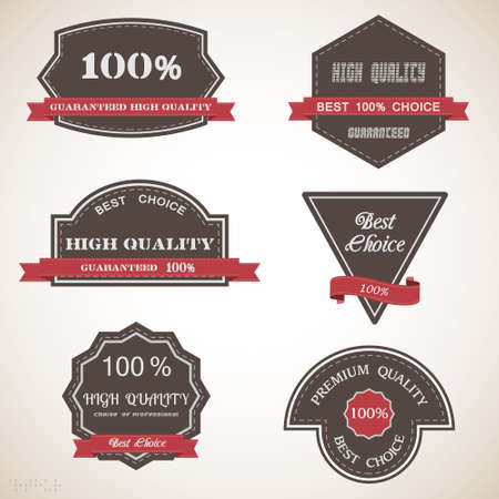Premium Quality Labels  Six design elements in vintage style Vector