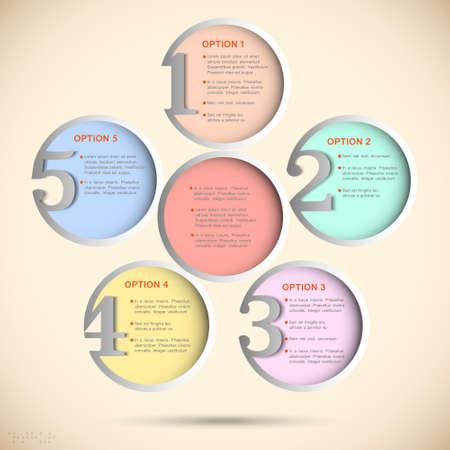 pastel colours: Ronda banderas numeradas en colores pastel de la plantilla de dise�o creativo
